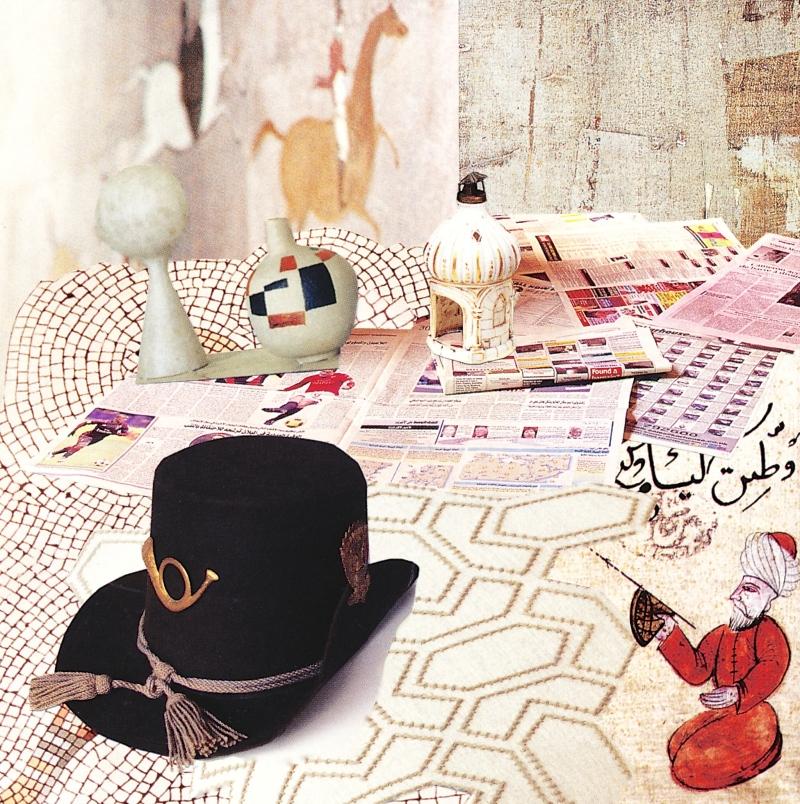 """Floor Piece (Hat), collage, 2014, 5"""" x 5"""""""